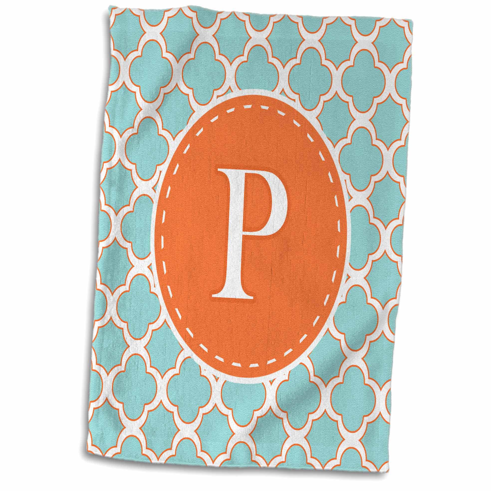 3dRose Letter P Monogram Orange and Blue Quatrefoil Pattern - Towel, 15 by 22-inch