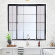 Rabbitgoo Privacy Window Film Frosted Film No Glue Anti-UV Window Sticker White Frosted Window Cling Non-Adhesive for Privacy Office Home,17.5 x 78.7 inches