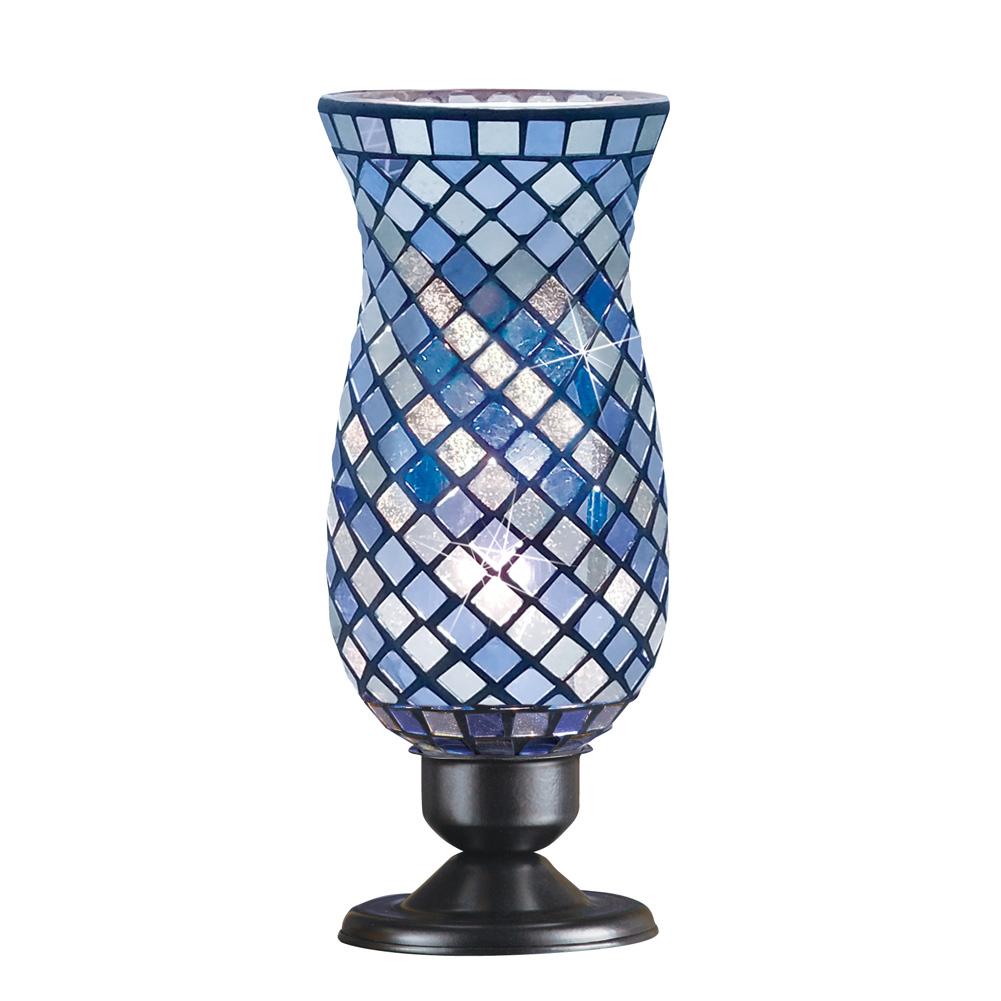 Glass Mosaic Tile Hurricane Table Lamp For Office Livingroom