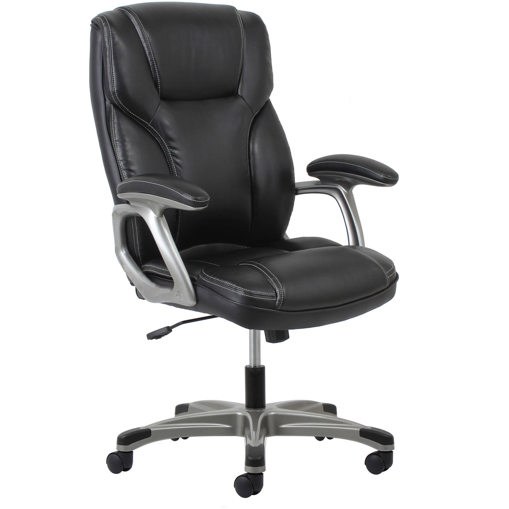 Essentials by OFM Ergonomic High-Back Leather Executive Office Chair with Arms, Black/Silver