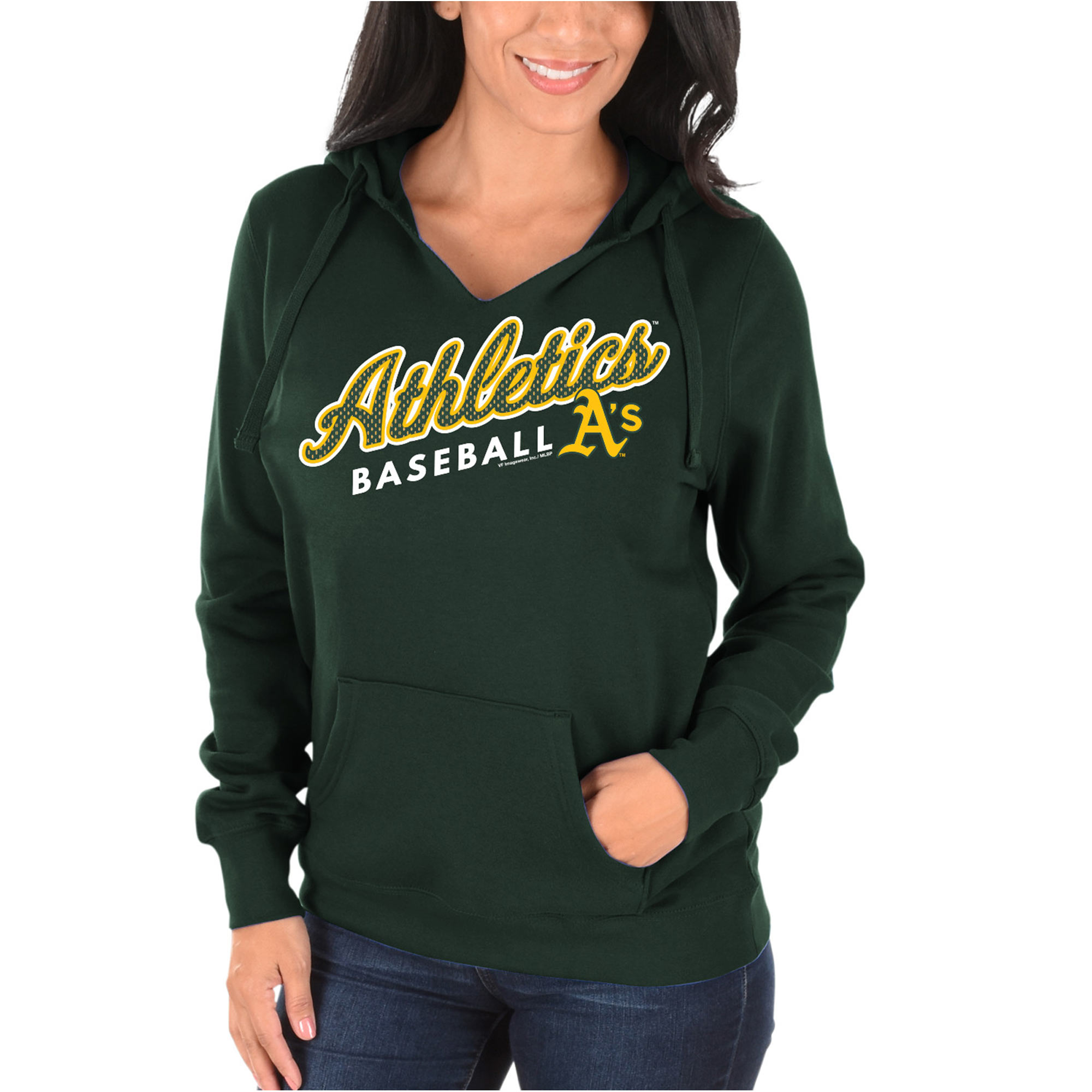 Women's Majestic Green Oakland Athletics Fresh & Exciting V-Neck Pullover Hoodie