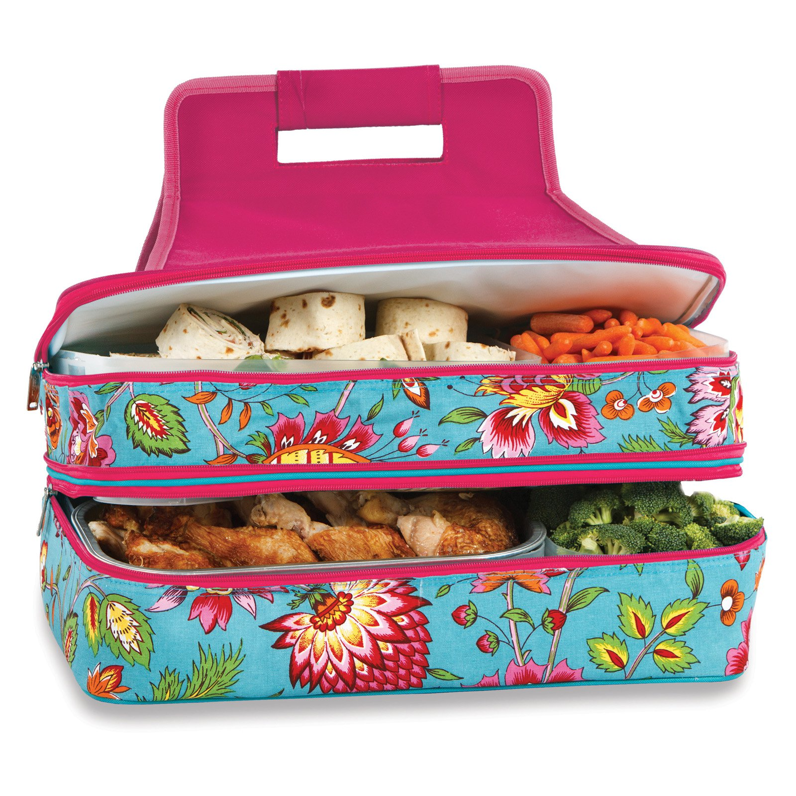 Picnic Plus Entertainer Cocoa Cosmos Hot and Cold Food Cooler Carrier