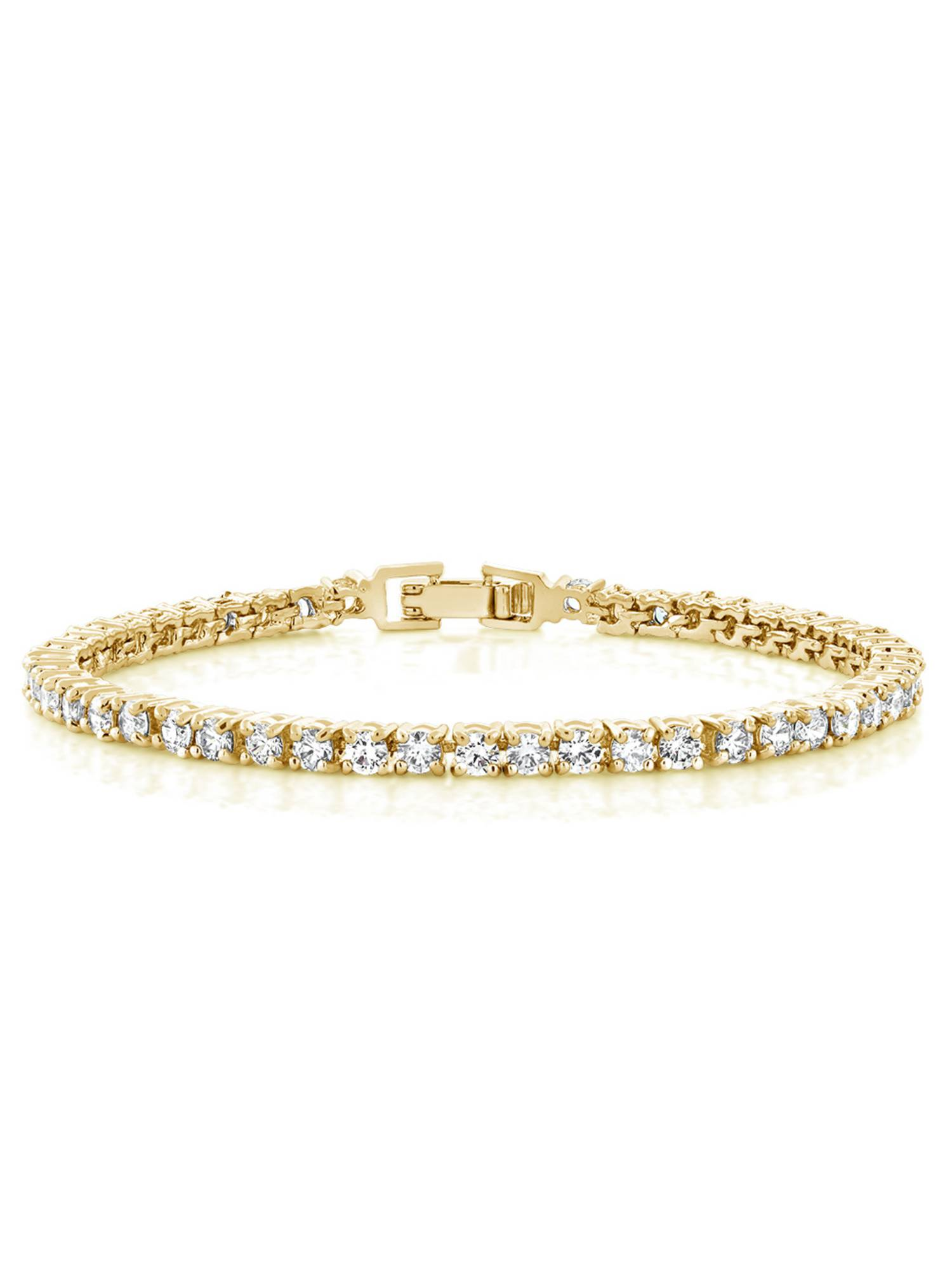 12.00 Ct 7 Inch Round Cubic Zirconias CZ Yellow Gold Plated Tennis Bracelet