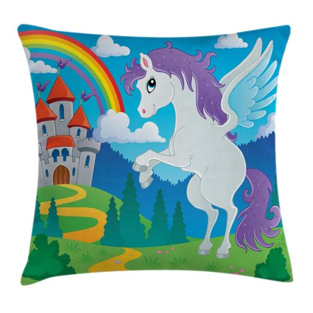 Kids Decor Throw Pillow Cushion Cover, Fantasy Myth Unicorn with Rainbow and Medieval Castle Fairy Tale Cartoon Design, Decorative Square Accent Pillow Case, 16 X 16 Inches, Multicolor, by Ambesonne - Rainbow Pillow