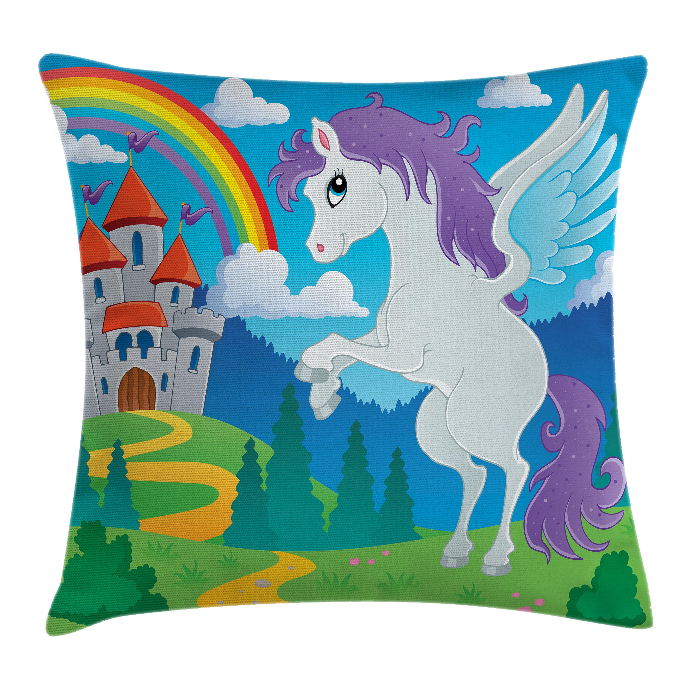 Kids Decor Throw Pillow Cushion Cover, Fantasy Myth Unicorn with Rainbow and Medieval Castle Fairy Tale Cartoon Design, Decorative Square Accent Pillow Case, 18 X 18 Inches, Multicolor, by Ambesonne