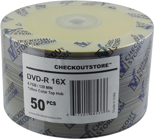 50 CheckOutStore 16X DVD-R 4.7GB Yellow Top