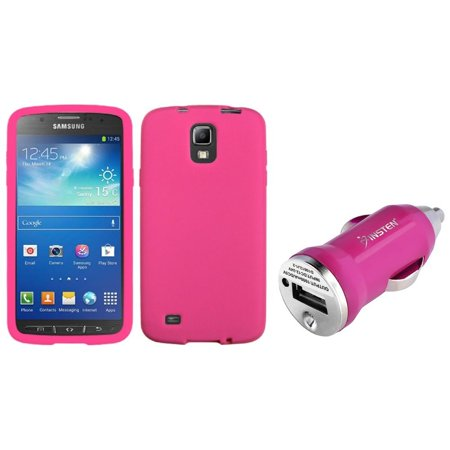 Insten Pink Silicone Skin Case+Mini Car Charger For Samsung Galaxy S4 Active i537 (2-in-1 Accessory