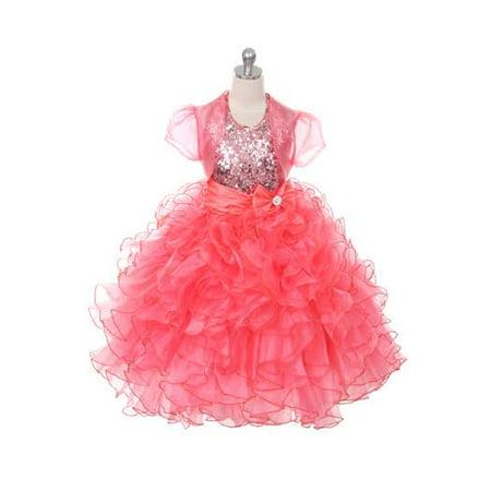 Girl Dress Coat (Rain Kids Girls 6 Coral Sequin Halter Pageant Dress Sheer)