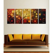 The Lighting Store Hand Painted 'Life Tree and The Universe' Oil Paint 5-piece Canvas Art Set