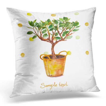 ARHOME Orange Flower Watercolor Tree in Pot with Splashes Spring Time Beautiful of Plant Yellow Green Autumn Pillow Case Pillow Cover 20x20