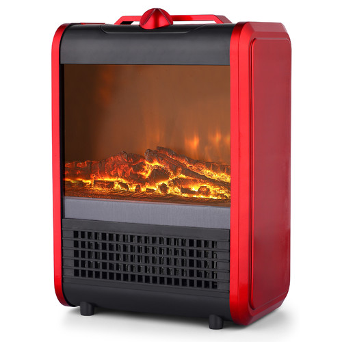 Pro Fusion Heat FP101 600/1200W Black & Red Ceramic Mini Fireplace Heater