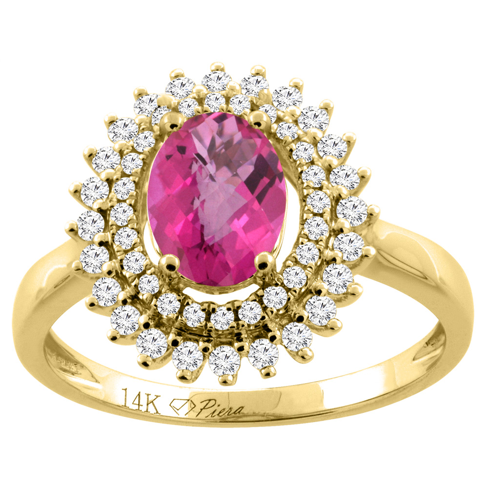 14K Yellow Gold Natural Pink Sapphire Ring Oval 8x6 mm Double Halo Diamond Accents, size 6 by Gabriella Gold