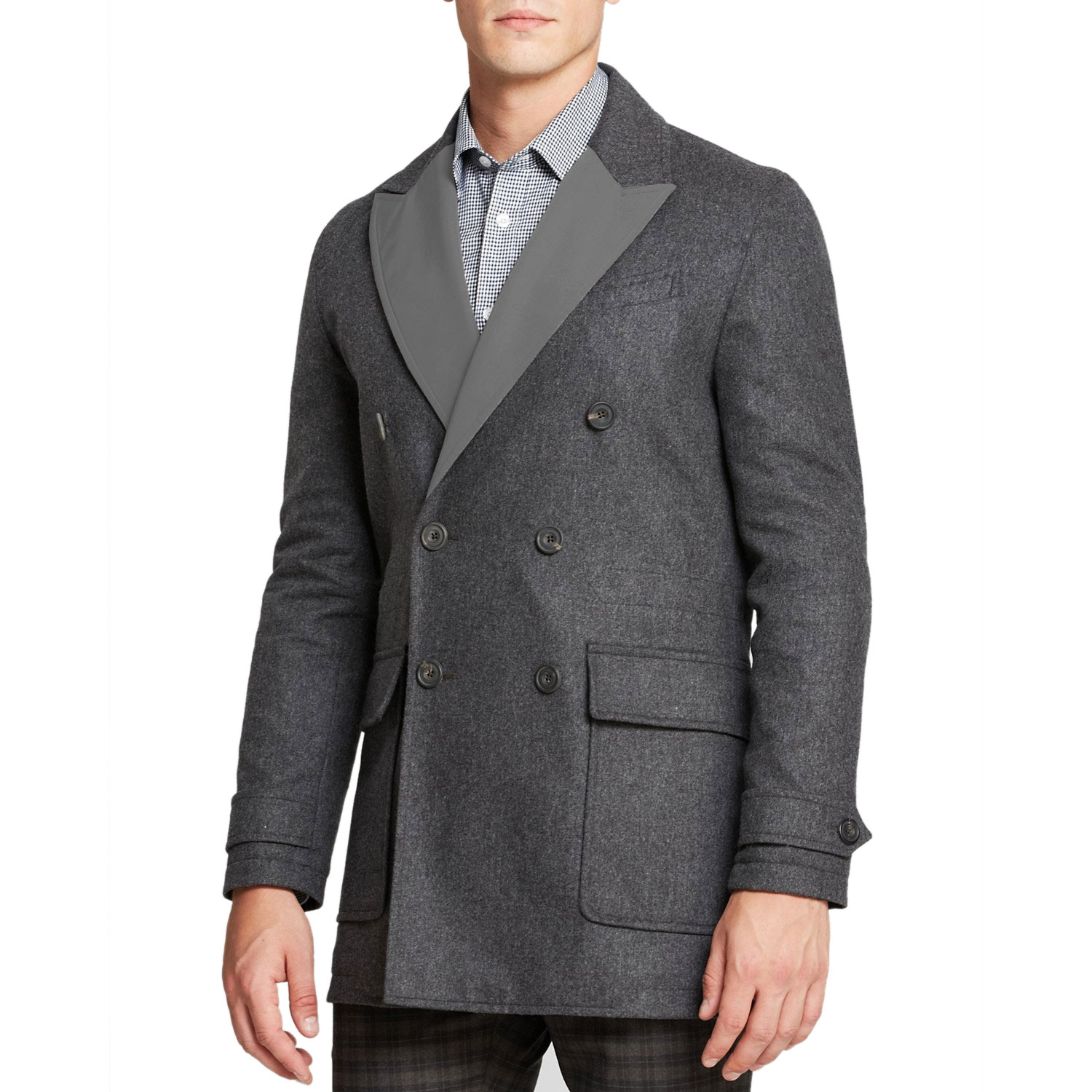 HARDY AMIES Men's Reversible Wool Peacoat Large L Charcoal Made In England by Mens Wool Coats