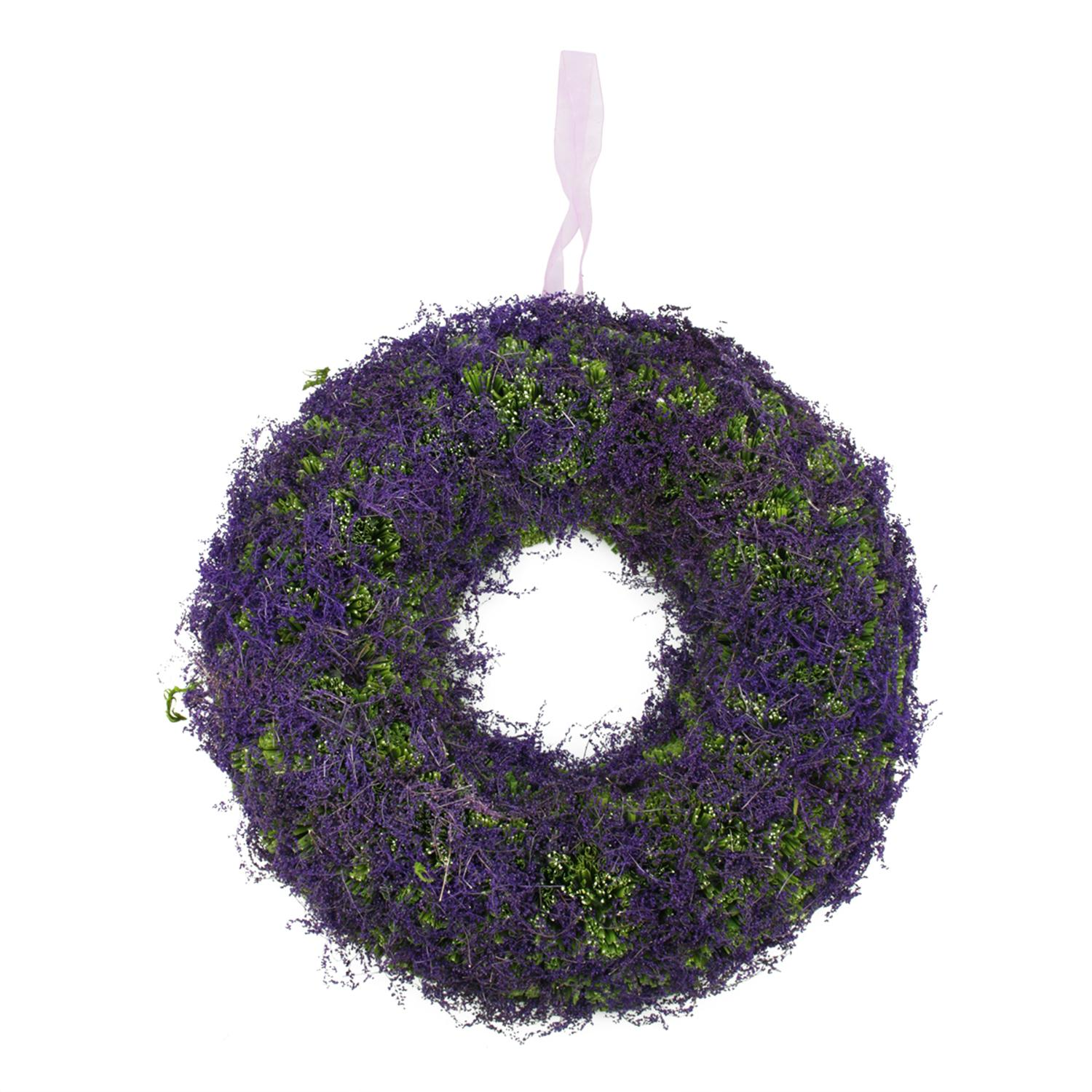 "14.5"" Purple Reindeer Moss and Green Twig Artificial Spring Floral Wreath"