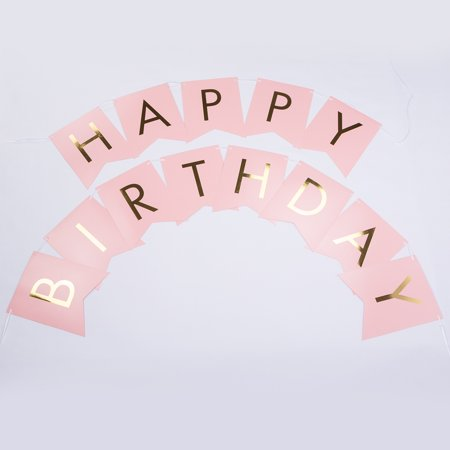 Quasimoon Pink Gold Foil Happy Birthday Party Pennant Banner Garland Decoration (8FT) by PaperLanternStore - Happy Birthday Garland
