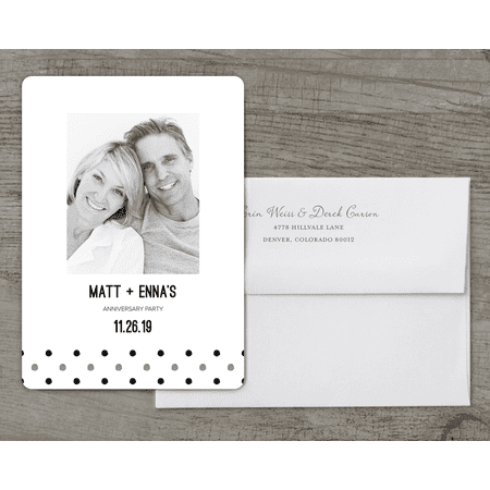 Personalized Wedding Anniversary Party Invitation - Contemporary Dots - 5 x 7 Flat Deluxe - Anniversary Party Invitations