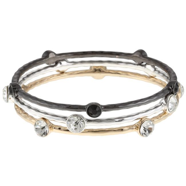 Celeste 610B-1000BWY Celeste Tri-Color Crystal Bangles -Set of 3