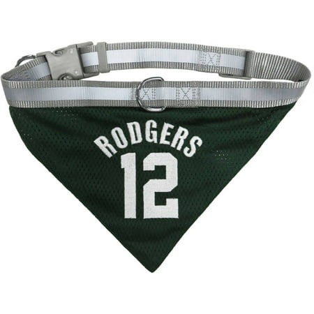 NFLPA AARON RODGERS MESH BANDANA with REFLECTIVE, ADJUSTABLE COLLAR. 6 NFL PLAYERS available in 3 Sizes. Cool Sporty Bandana for DOGS &
