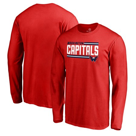 Washington Capitals Fanatics Branded Iconic Collection On Side Stripe Long Sleeve T-Shirt - Red](Washington Capitals Halloween)