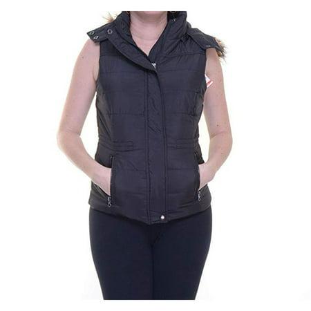 American Rag Faux Fur-Trim Puffer Vest, Classic Black, Large