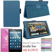 """EpicGadget Case for Amazon Fire HD 8"""" 2018/2017, Auto Sleep/Wake (8th and 7th Generation) Fire HD 8 PU Leather Folding Folio Smart Cover Case For Fire HD 8 Inch 2018/2017 Release (Navy Blue)"""
