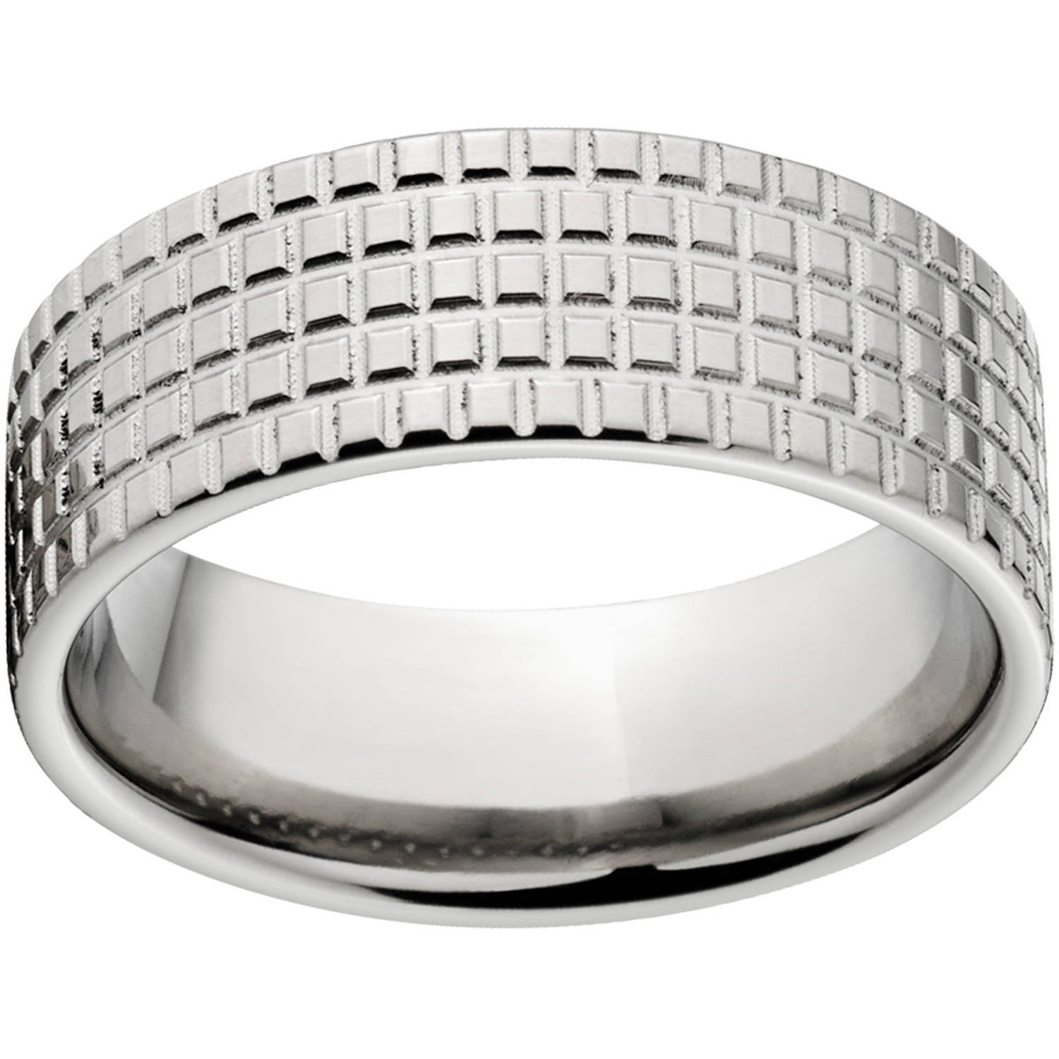 Custom Men's Tire Tread 8mm Stainless Steel Wedding Band with Comfort Fit Design