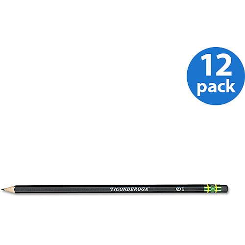 Dixon Ticonderoga Woodcase Pencil, Black Barrel, 12pk