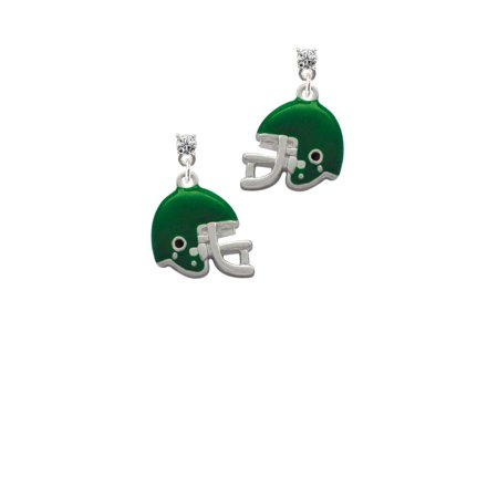 Silvertone Small Green Football Helmet Clear Crystal Post Earrings