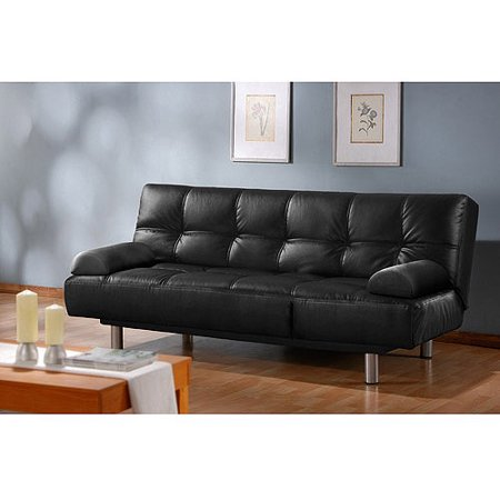 Atherton Home Manhattan Convertible Futon Sofa Bed and Lounger, Black Faux Leather