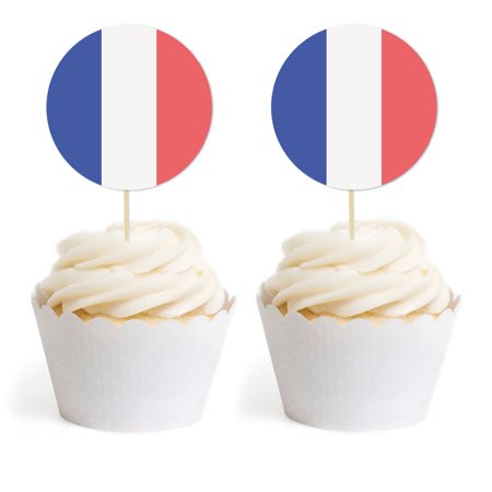 Global World Flag Party Collection, Round Cupcake Toppers, France, 20-Pack, Olymics, Soccer, Football World Cup - Soccer Cupcake Toppers