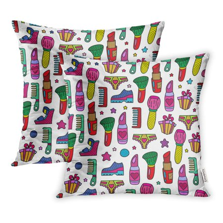 ECCOT Colorful 80S Doodle Girly Party 90S Birthday Cartoon Celebration Chic Clipart Pillowcase Pillow Cover 18x18 inch Set of