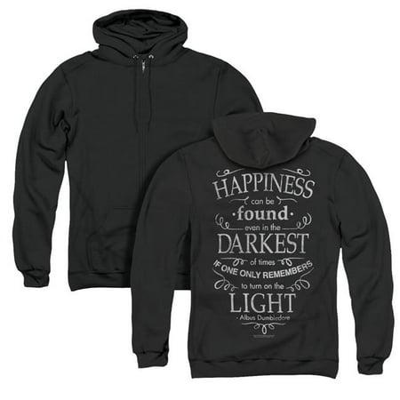 Trevco Sportswear HP8085BK-AZH-1 Harry Potter & Happiness Back Print Adult Zipper Hoodie,  Black - Small Happiness Mens Hoodie