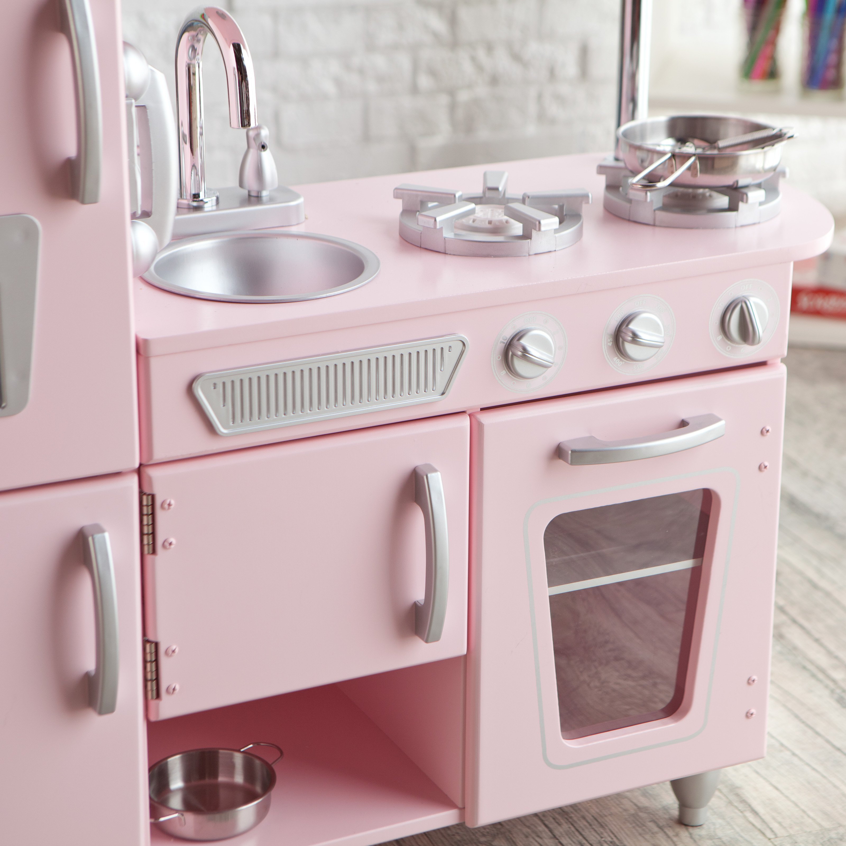 Kidkraft Petal Pink Kitchen Kidkraft Vintage Wooden Play Kitchen In Pink Walmartcom