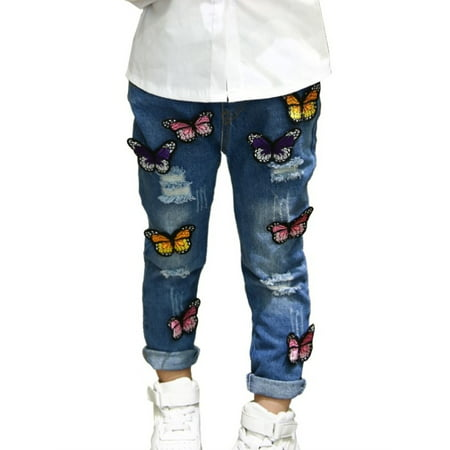 Kids Baby Girls Stretch Jeans Cartoon 3D Butterfly Floral Denim Long Pants