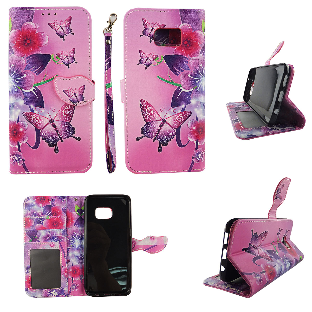 Butterfly Flower Pink Wallet Folio Case for Samsung Galaxy S7 Edge Fashion Flip PU Leather Cover Card Cash Slots & Stand