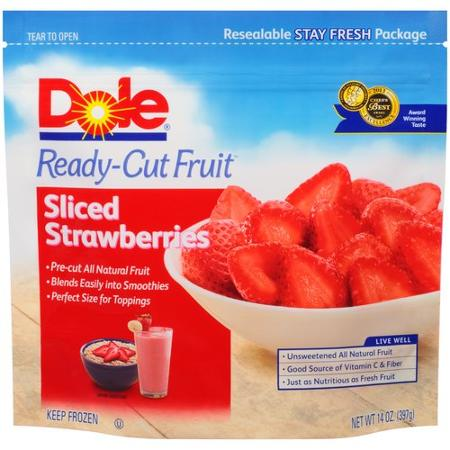 Dole Ready-Cut Fruit Sliced Strawberries Frozen Fruit, 14 oz