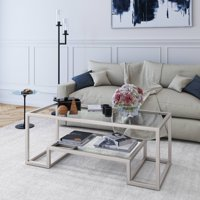 Evelyn&Zoe Contemporary Coffee Table with Glass Top and Shelf