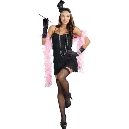 Flapper Basic Dress Women's Adult Halloween Costume (Halloween Costumes With Long Black Dresses)