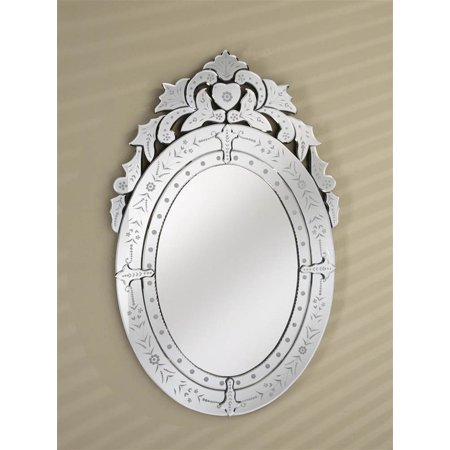 Venetian Oval Wall Mirror in Cut & Etched Glass Mirror Frame ...