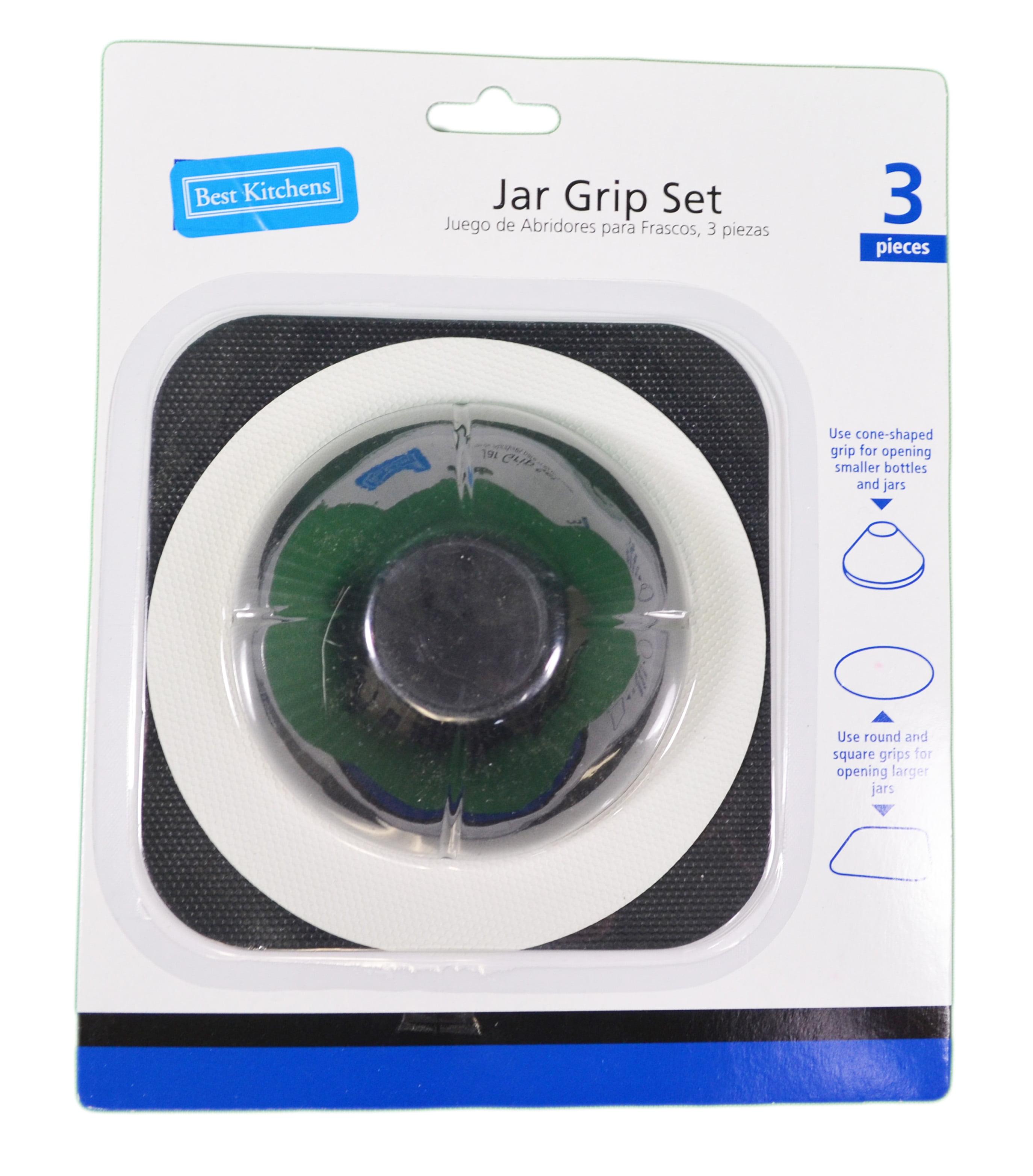 3 Piece Jar Grip Set Rubber Bottle Openers Multi Purpose Non Slip Grippers by