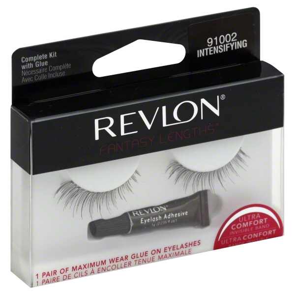 Revlon 2 Maximum Wear Intensifying w/Glue #91002 Fantasy Lengths Eyelashes, 1 Pair