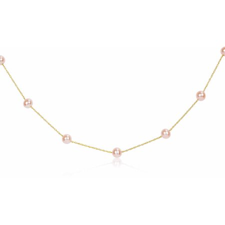 """5-6mm Pink Cultured Freshwater Pearl 14kt Yellow Gold Station Necklace, 17"""""""