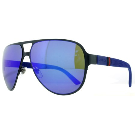 8d2a3be5d7 Gucci - Gucci GG 2252 S R63 Z0 Semi Matte Navy Blue Men s Aviator Sunglasses  - Walmart.com