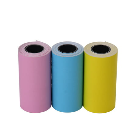 Printable Color Sticker Paper Roll Direct Thermal Paper with Self-adhesive 57*30mm(2.17*1.18in) for PeriPage A6 Pocket Thermal Printer for PAPERANG P1/P2 Mini Photo Printer, 3 Rolls