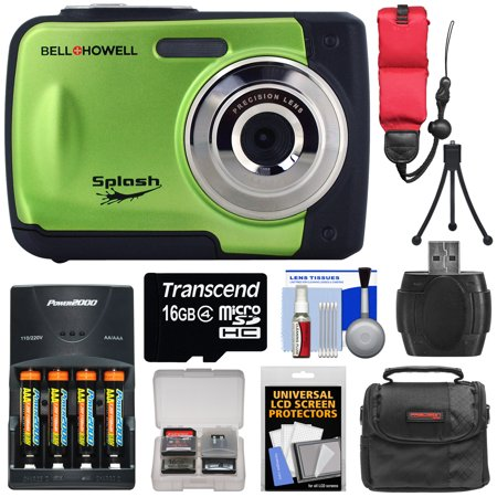 Bell & Howell Splash WP10 Shock & Waterproof Digital Camera (Green) with 16GB Card + Batteries & Charger + Case + Mini Tripod + Floating Strap + Reader +
