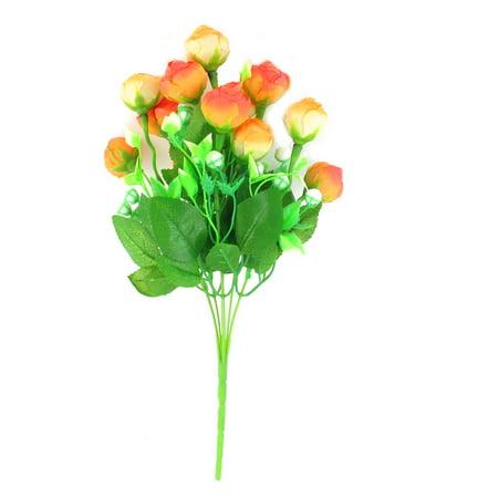 Unique Bargains Artificial Green Leaf Rose Flower Bouquet Wedding Party Ornament for Home