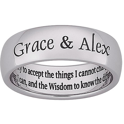 Personalized Stainless Steel Engraved Message Serenity Band