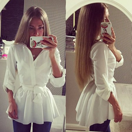 Fashion Women Long Sleeve Button Down Shirt Blouse Top Casual Dress with Belt