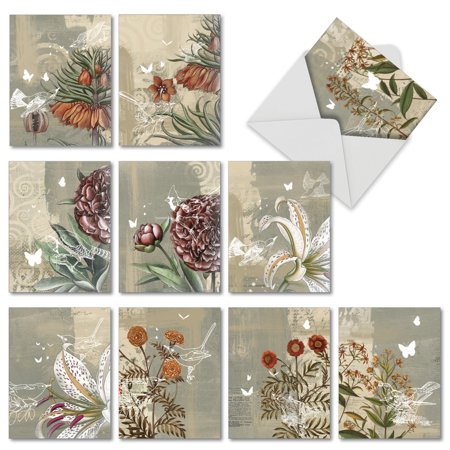 'M2986TYG FLORAL COLLAGES' 10 Assorted Thank You Note Cards Featuring Floral and Botanical Print Collages, with Envelopes by The Best Card -