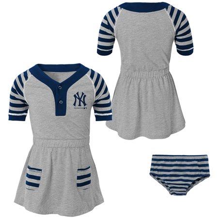 Girls Toddler Heathered Gray/Navy New York Yankees Team Dress & Bloomers - Dress Heather
